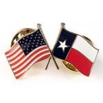 Americana Texas Crossed USA Flag Lapel Pin