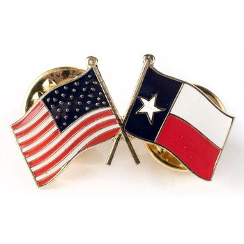 Americana Texas Crossed USA Flag Lapel Pin