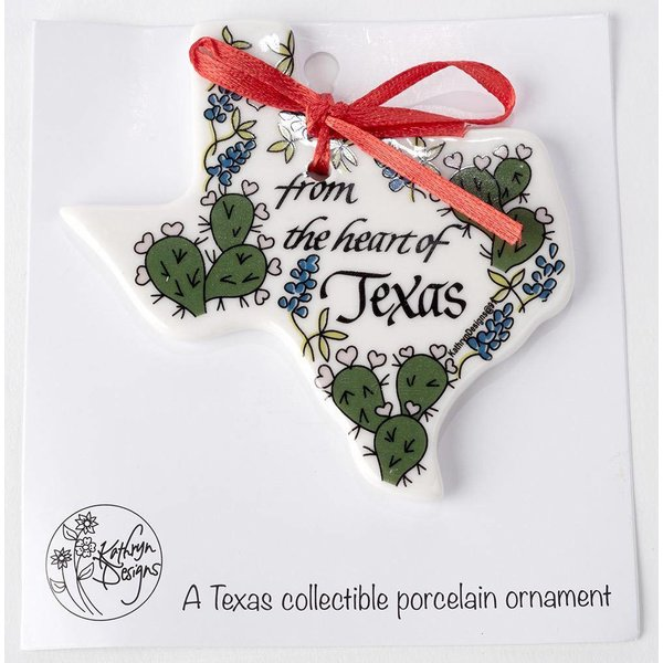 Austin & Texas Heart Of Texas Shaped Ornament