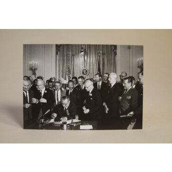 Civil Rights LBJ Signs Civil Rights Act Postcard