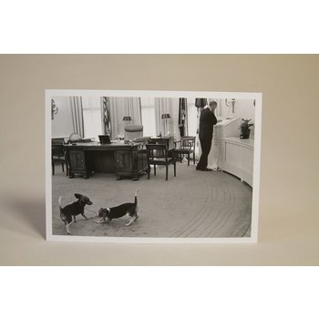 All the way with LBJ LBJ IN OVAL OFFICE with BEAGLES POSTCARD