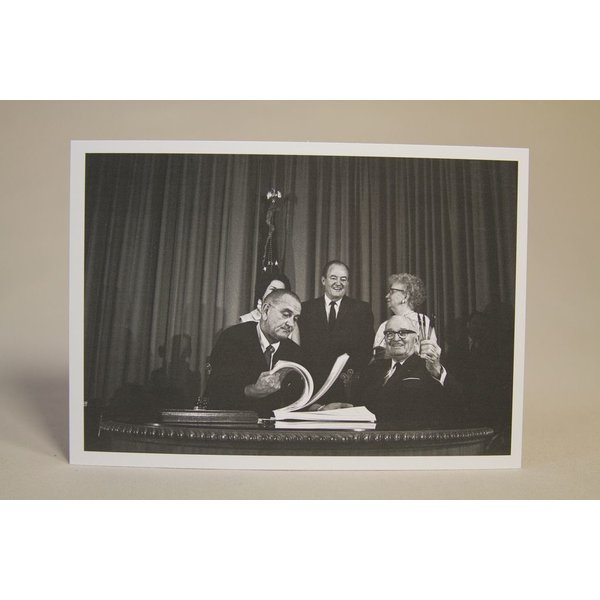 All the way with LBJ sale-MEDICARE BILL SIGNING POSTCARD b&w
