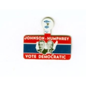 All the Way with LBJ Large  Johnson- Humphrey Vote Democratic Campaign Tab