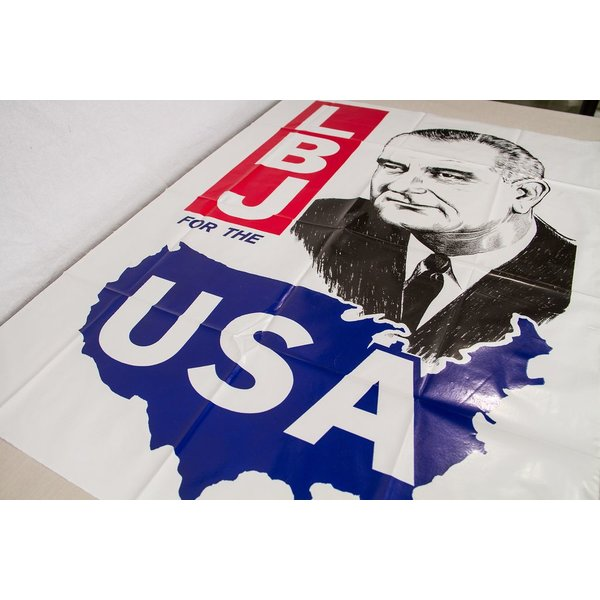 All the Way with LBJ ORIGINAL LBJ PLASTIC 1964 CAMPAIGN POSTER