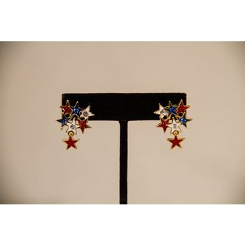 Patriotic RWB STAR CLUSTER EARRINGS