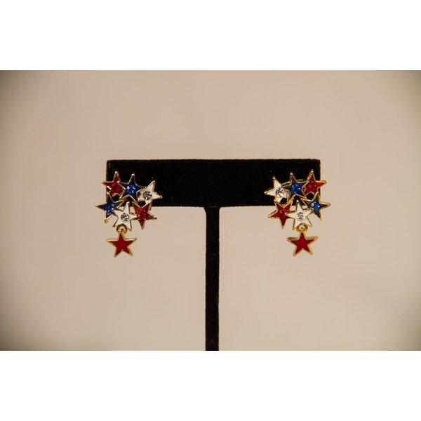 Patriotic RWB STAR CLUSTER EARRINGS