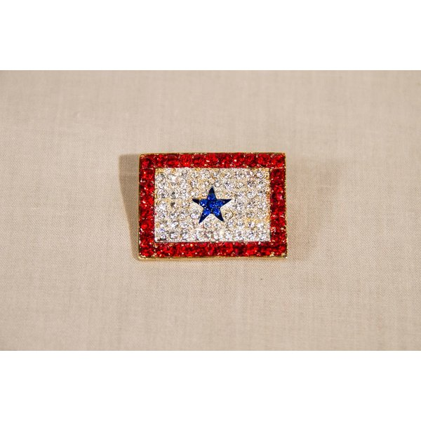 Americana Crystal Blue Military Star Brooch