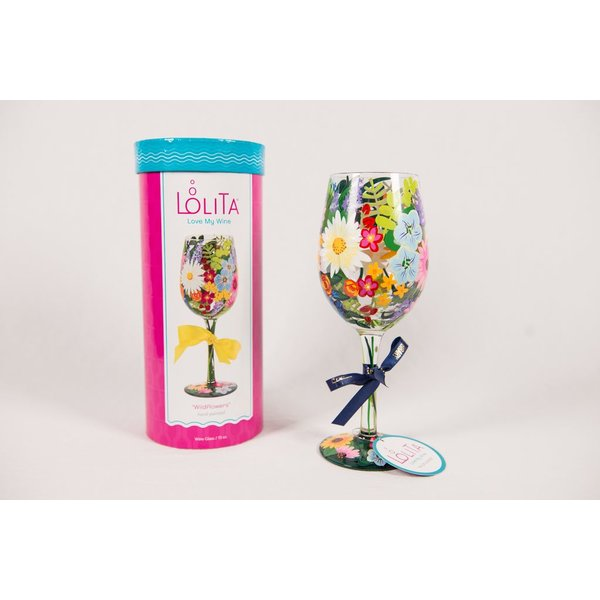 Lady Bird Wildflowers Painted Wine Glass - Boxed