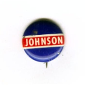 All the Way with LBJ Johnson Navy & Red Stripe Button