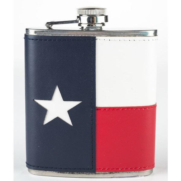 LEATHER TEXAS FLAG FLASK