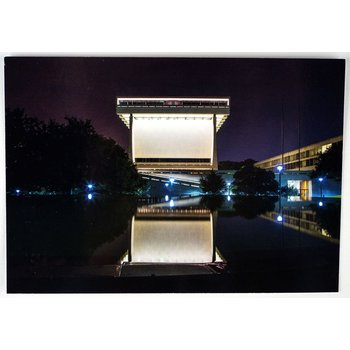 All the Way with LBJ LBJ Library Reflected at Night Postcard