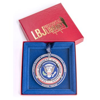 Holiday LBJ Presidential Seal Brass Ornament
