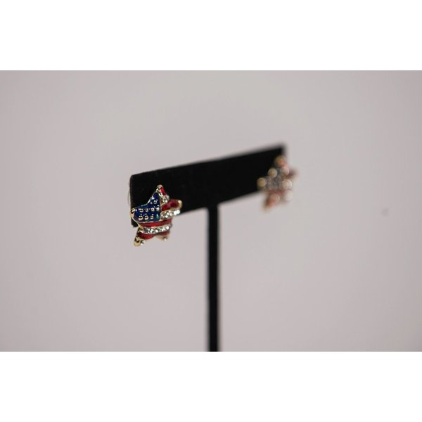 Patriotic PUFFED RED, WHITE AND BLUE STAR EARRINGS