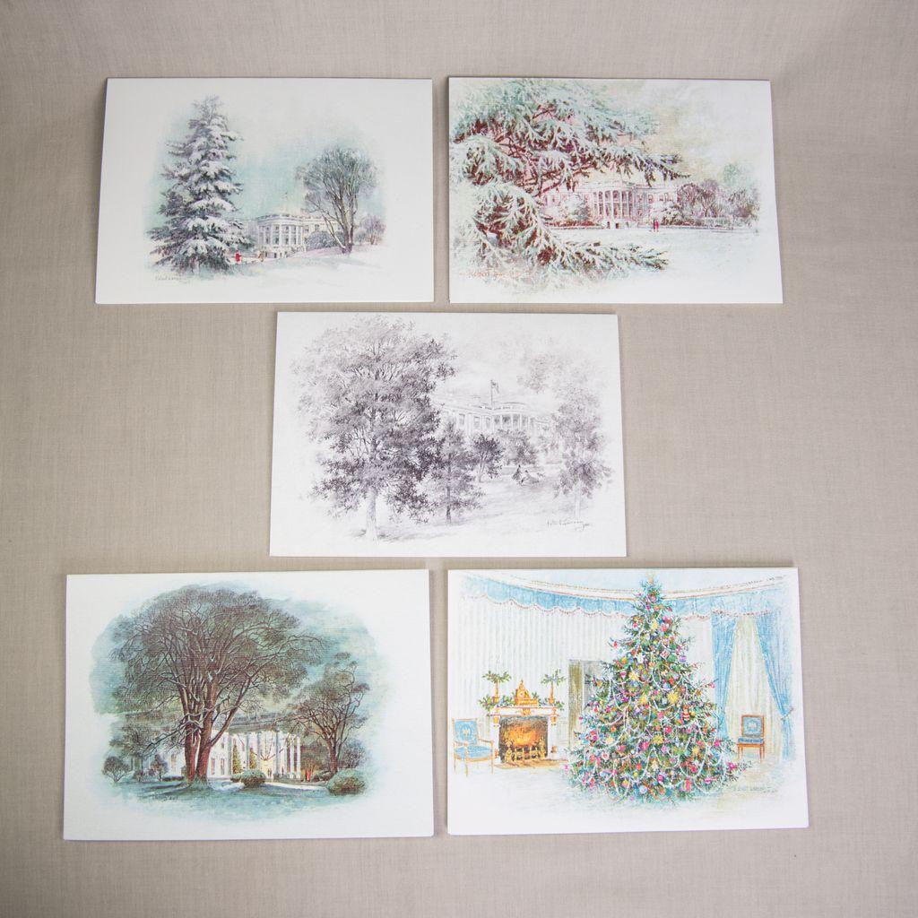 Christmas Notecard.Reproduction Christmas Notecards Lbj Set 5