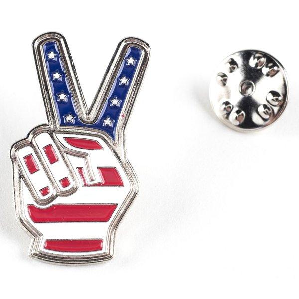 Americana Peace Fingers Lapel Tac Pin
