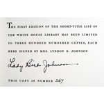 """Lady Bird Autographed, Limited Edition """"The White House Library: A Short Title List"""""""