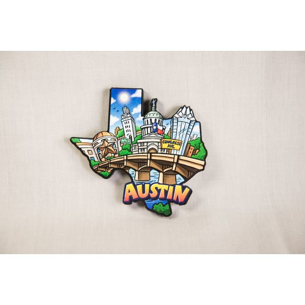 TEXAS AUSTIN WOOD MAGNET