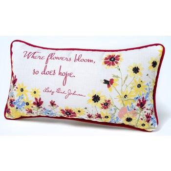 "Lady Bird Where Flowers Bloom Pillow - 17"" X 9 """