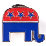 Patriotic ELEPHANT LAPEL TAC PIN