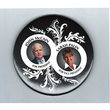 MCCAIN PALIN BLACK AND WHITE LEAF 3""
