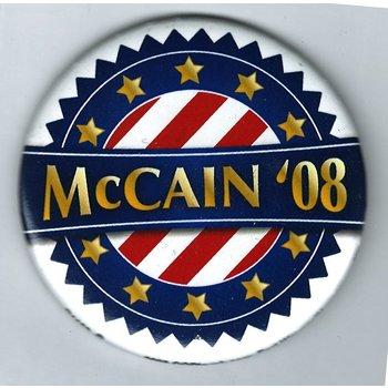 "MCCAIN 08 RED/WHITE STRIPES, GOLD STARS 3"""