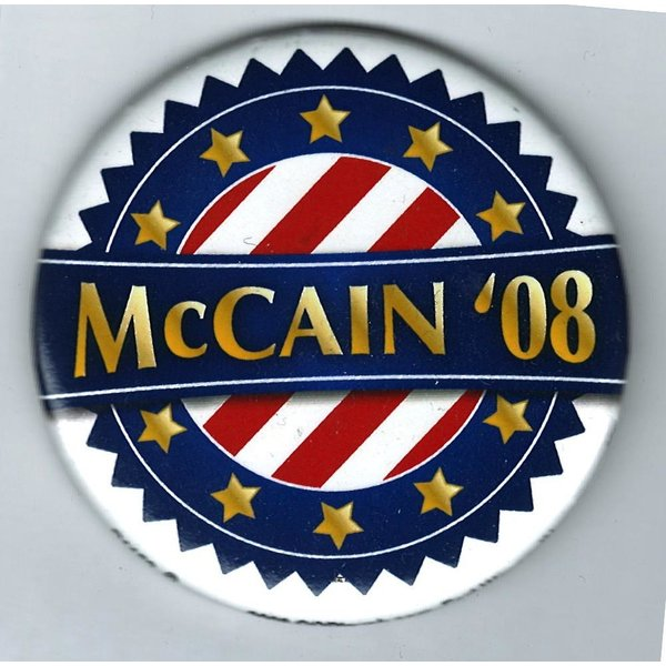MCCAIN 08 RED/WHITE STRIPES, GOLD STARS 3""