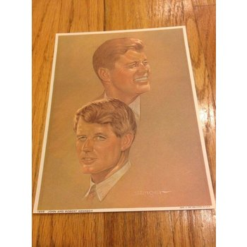 1968 John and Robert Kennedy Lithograph Sanger Picture