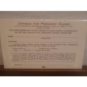 ORIGINAL DONATION REQUEST FORM FOR JOHNSON FOR PRESIDENT DINNER - 1960