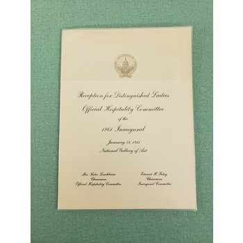 Reception for Distinguished Ladies 1961 Inaugural Invitation