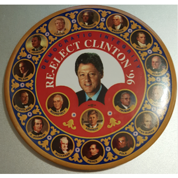 "6"" Democratic Integrity Re-Elect Clinton '96 Campaign Button"