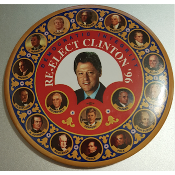 "3.5"" Democratic Integrity Re-Elect Clinton '96 Campaign Button"