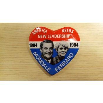 1984 Heart-Shaped Mondale Ferraro Campaign Button
