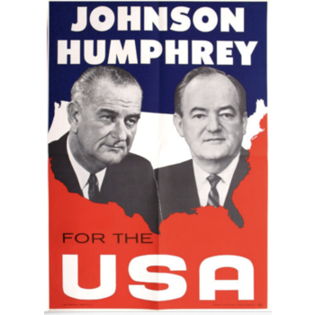 """20 1/4"""" x 28 1/2"""" 1964 Johnson Humphrey for the USA Poster"""