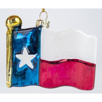 Austin & Texas Texas Flag Shaped Glass Ornament