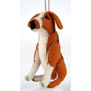 Holiday Him & Her Beagle Felt Ornament