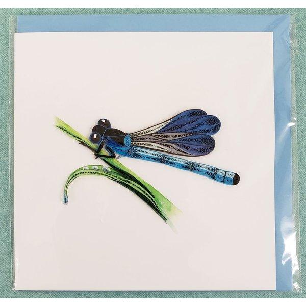 Lady Bird Blue Damselfly Quilling Card