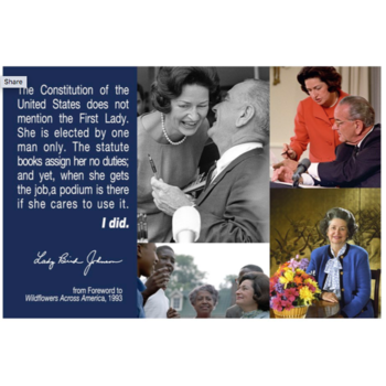 Lady Bird First Lady, Lady Bird Postcard