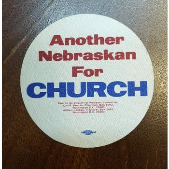 Another Nebraskan For Church campaign sticker
