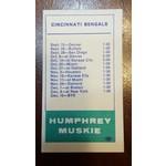 Humphrey 1968 Cincinnati Bengals schedule card
