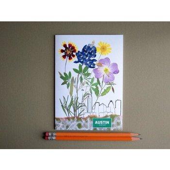 """Austin & Texas """"AUSTIN"""" SKYLINE with WILDFLOWERS CARD"""