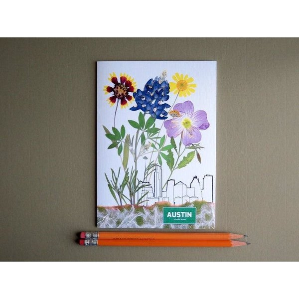 Austin & Texas Austin Skyline With Wildflowers Card