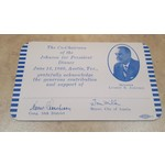 All the Way with LBJ Johnson for President Dinner Donation Acknowledgement Card