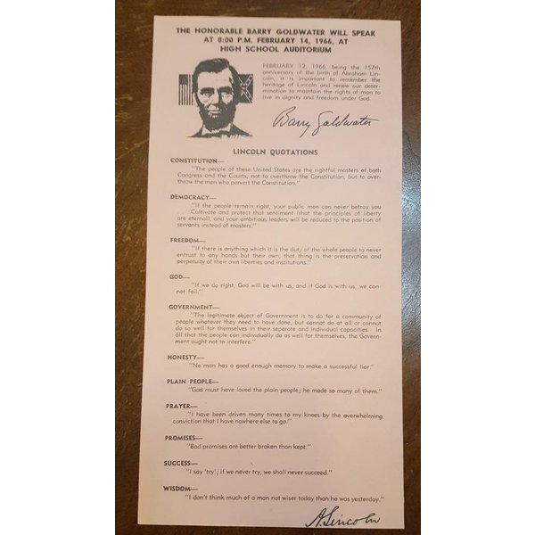GOLDWATER LINCOLN FLIER