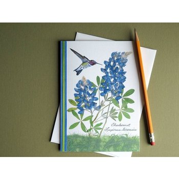 Austin & Texas BLUEBONNET W/SM HUMMINGBIRD CARD