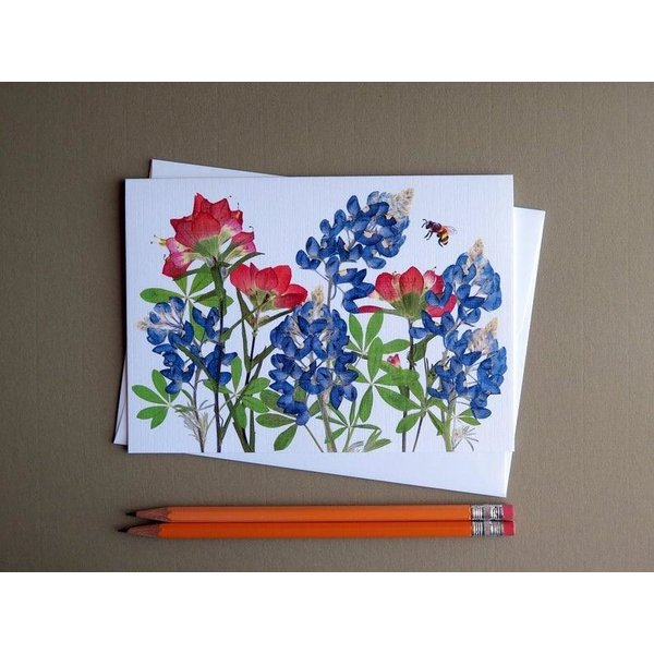 Austin & Texas Bluebonnet & Indian Paintbrush With Bee Card