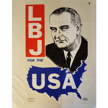 All the Way with LBJ Large Clear Plastic 1964 LBJ for the USA Campaign Poster