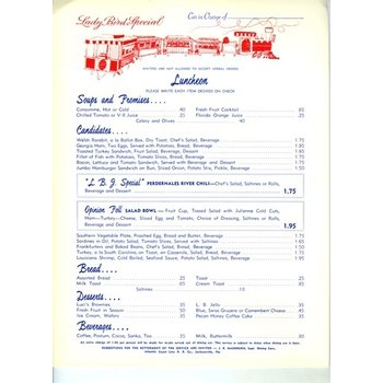 Lady Bird ORIGINAL JOHNSON LADY BIRD SPECIAL LUNCH MENU - 1964