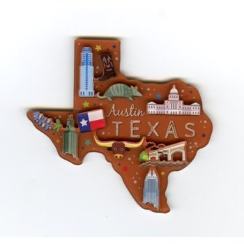 Austin & Texas Texas Shaped Austin Magnet
