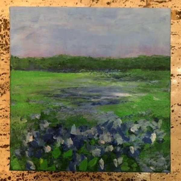 Austin & Texas Bluebonnets mixed media on 8x8 canvas by Jean Schuler