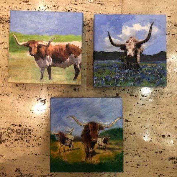 Austin & Texas Longhorn mixed media on 6x6 Canvas Jean Schuler